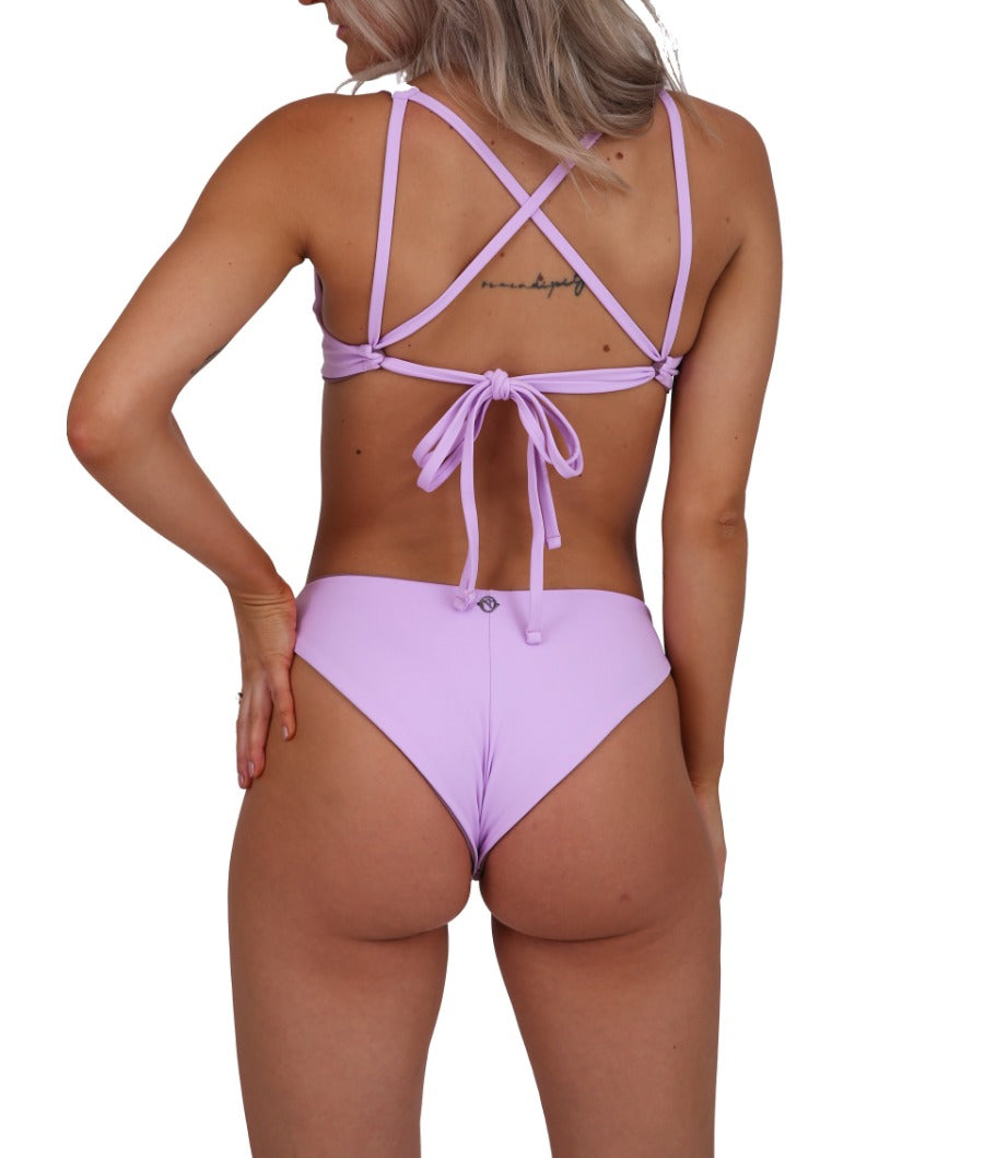 Dalia bottom in Lilac, reversible to Mauve. Moderate coverage. Perfect amount of cheeky.