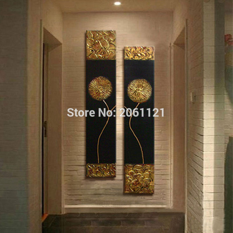 Hand Painted Modern Abstract Gold black Oil Painting  Wall Decorative - Venim World Class