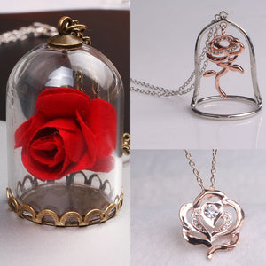 Rose flower glass in Terrarium Pendant for Men and Women Fans - Venim World Class