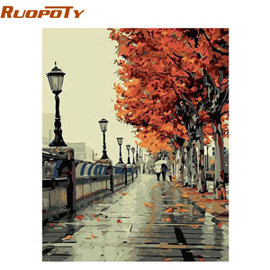 Autumn Street Landscape DIY Painting By Numebrs Kit Handpainted Oil Painting Unique Gift - Venim World Class