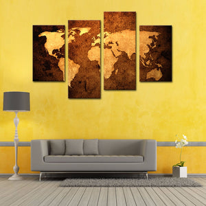 Art-4 Pieces Old Map Wall Art Painting Print On Canvas The Picture Murals Impression( Wooden Framed) - Venim World Class