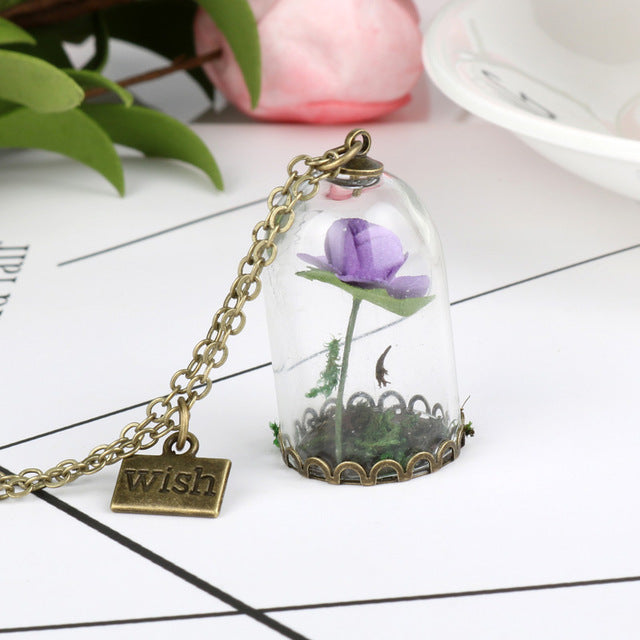 Terrarium Pendant Necklace His Beauty/Her Beast Valentines Day Fairy Tale Movie Jewelry-A1 - Venim World Class