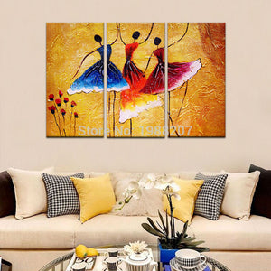 3 Panels Abstract Ballet Dancers Oil Painting Printed on Canvas with Wooden Framed Ready to Hang - Venim World Class