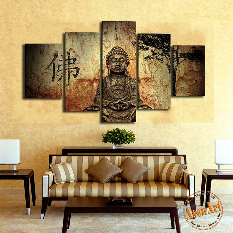 5 Panel Buddha Canvas Painting Print Wall Picture  Framed Ready to Hang - Venim World Class
