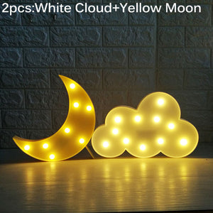 Light Cloud Moon Star Lamp 3D Lights Novelty Luminaria Cactus Nightlight - Venim World Class