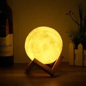 13cm 3D Full Moon Lamp LED Night Light Color Changing Desk Table Light Home Decor USB Rechargeable - Venim World Class