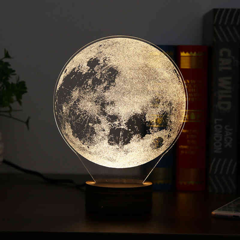 Carving 3D LED Moon Lamp Night Lights USB Christmas Lights Atmosphere Desk Lamps Home Decor - Venim World Class