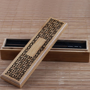 Bamboo Incense Burner Incense Stick Holder With Drawer Joss-stick Box Hollow Aromatherapy - Venim World Class