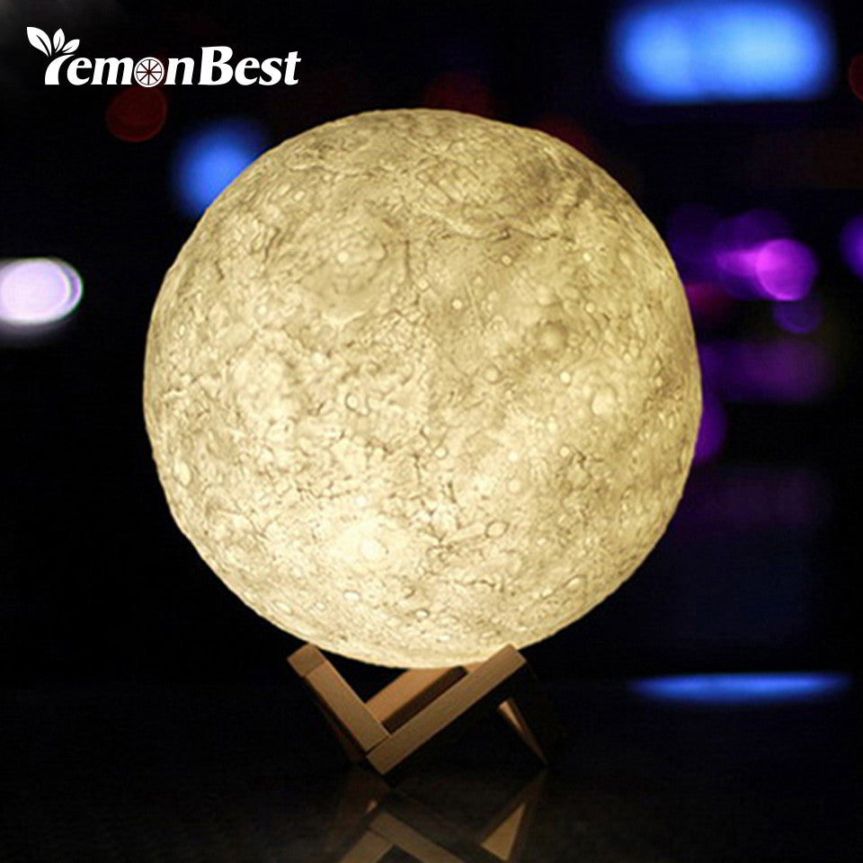 3D Moon LED Night Light Moonlight Desk Lamp USB Rechargeable 3 Light Colors - Venim World Class