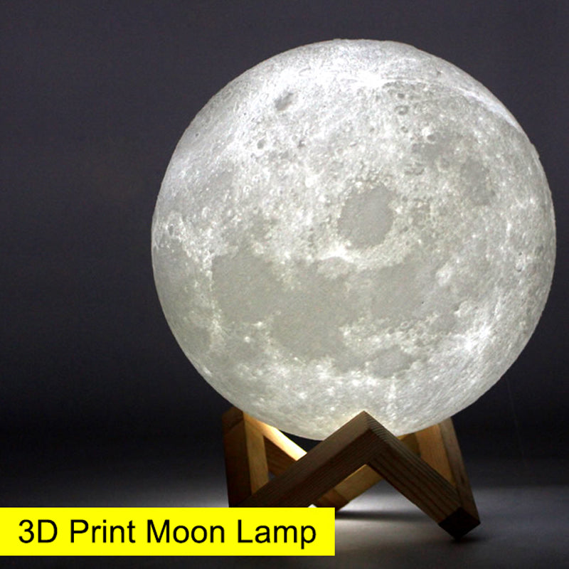 USB Rechargeable 3D Print Moon Lamp Yellow Red Change Touch Switch - Venim World Class