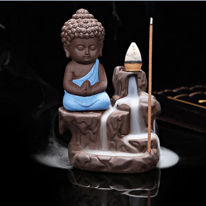 10pcs Incense Cones + Small Buddha Cone Incense Burner Incense Sticks Holder Purple Clay - Venim World Class