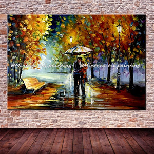 Large Handpainted Lover Rain Street Tree Lamp  Oil Painting On Canvas - Venim World Class