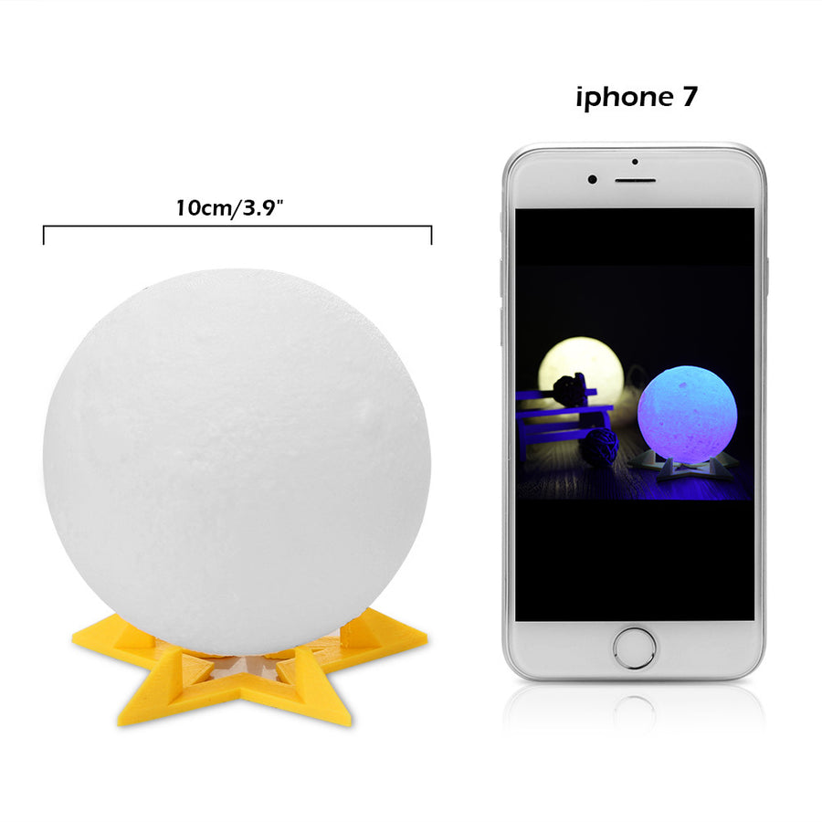 Rechargeable 3D Print Moon Lamp 2 Color Change Touch Switch Bedroom Bookcase Night Light Home Decor - Venim World Class