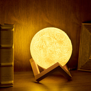 3D Print Night  Moon Lamp  2 Color Change Touch Switch Night Lamps Home Decor with Wood Holder - Venim World Class