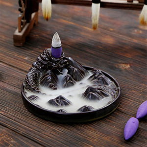 2017 Ceramic Black Dragon Backflow Incense Burner Holder Aromatherapy Incense Cones 12.2x5.2cm - Venim World Class