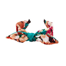 Taylor Adorn - Aaliyah Teal Silk Headband with floral print - white background