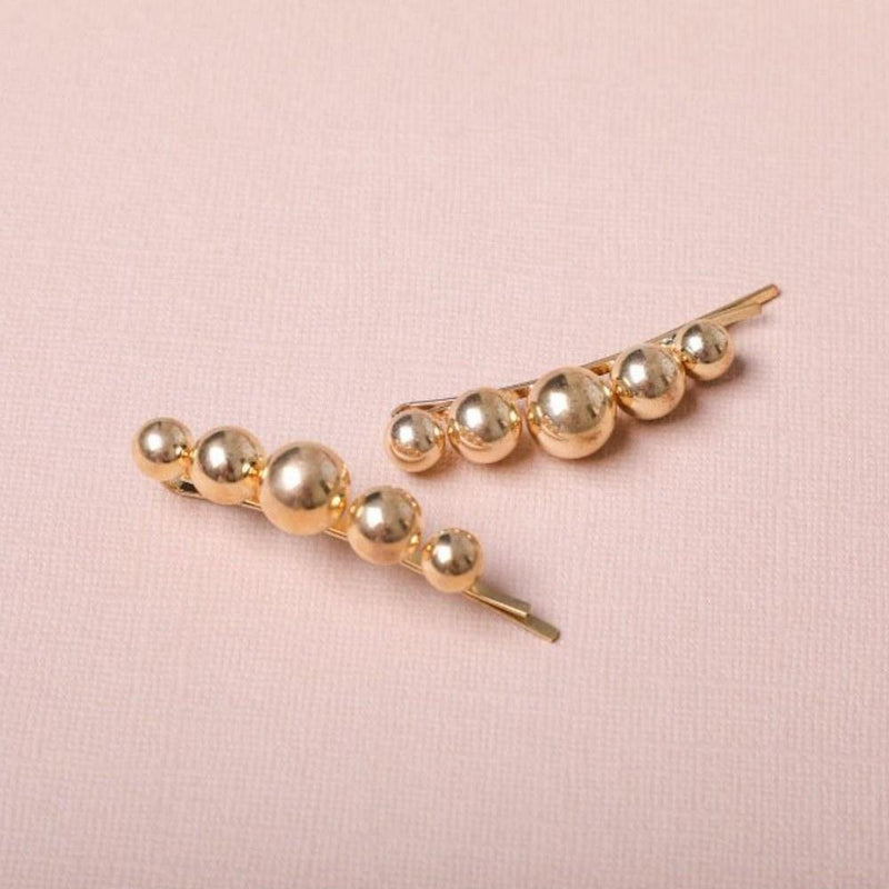 Taylor Adorn - Adeline Gold Pin Set - 18k gold plated brass graduated ball hair pin