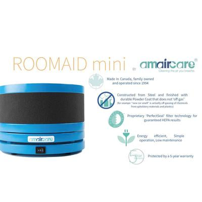 Amaircare Roomaid Mini, Small Air Purifier – 250 sq ft, 4.4 lbs