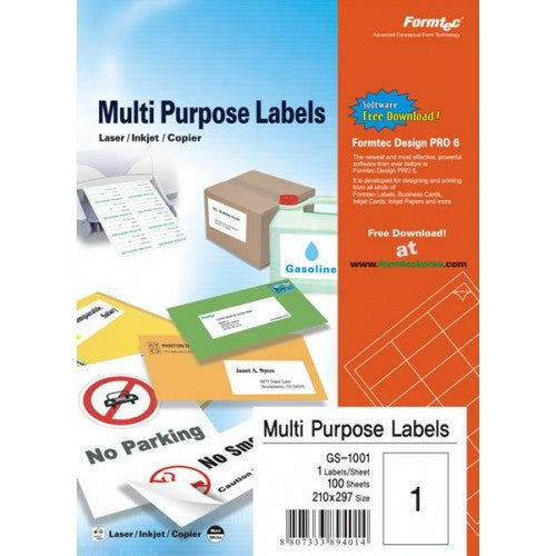 Formtec A4 Labels ليبلات \ ملصقات بيضاء - Optimum Copy Center
