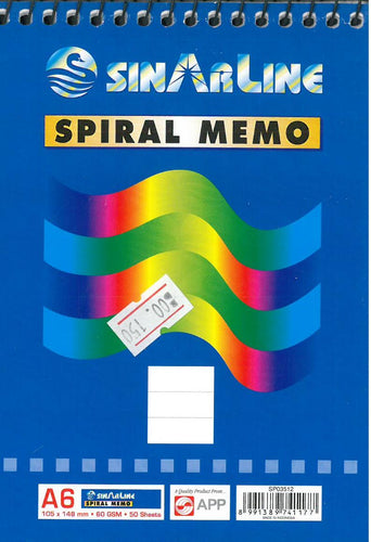 SinArline Spiral Memo A6 - Optimum Copy Center