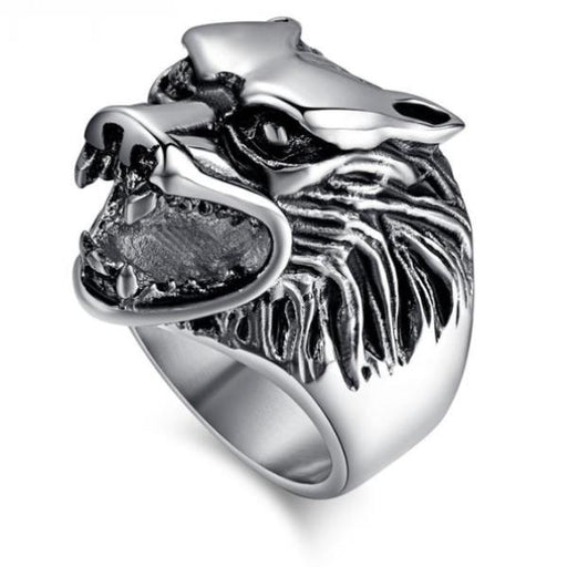 Wolf Head Rings For Men - Stainless Steel Rock Punk Rings -  Animal Rings Jewelry - Optimum Copy Center