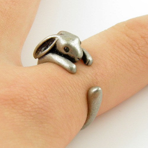 Bunny Animal Wrap Ring  - Shiny Silver Jewelry Rings -  خاتم الأرنب - Optimum Copy Center