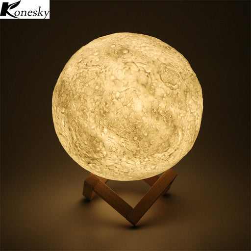 Konesky 3D Magical Moon LED Night Light Moonlight Desk Lamp USB Rechargeable 3 Colors Stepless for Home Decoration Christmas - Optimum Copy Center