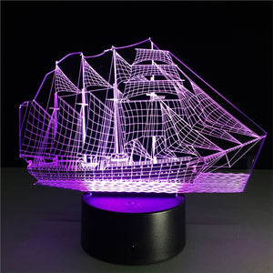 Sailing Ship 3D Lamp Visual Light Effect Touch Switch & Remote Control Colors Changes Night Light - Optimum Copy Center