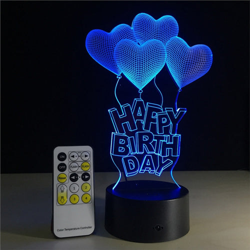 Happy Burth Day 3D Lamp Visual Light Effect Touch Switch & Remote Control Colors Changes Night Light - Optimum Copy Center