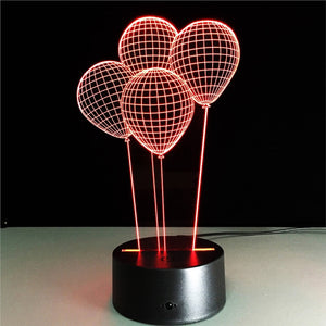 Balloons 3D Lamp Visual Light Effect Touch Switch & Remote Control Colors Changes Night Light - مصابيح إضاءة ثلاثية الأبعاد - Optimum Copy Center