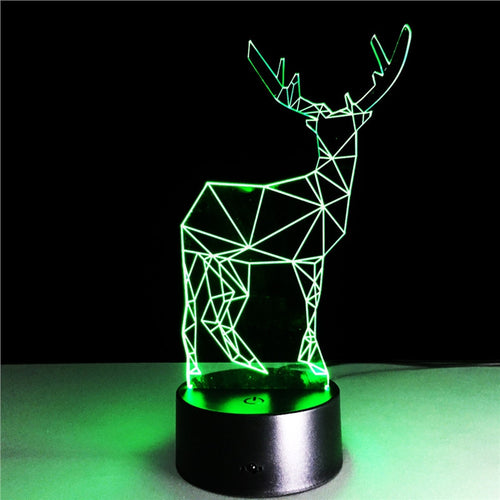 Deer 3D Lamp Visual Light Effect Touch Switch & Remote Control Colors Changes Night Light - مصابيح إضاءة ثلاثية الأبعاد - Optimum Copy Center