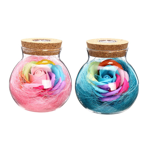 Rose Wish Bottle Handmade Eternal Never Withered Flower With Remote Control 7 Color LED Light - مصابيح إضاءة