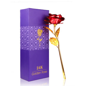 Valentine's Day Women's Gift 24K Gold Plated Rose Flower وردة مطلية بالذهب