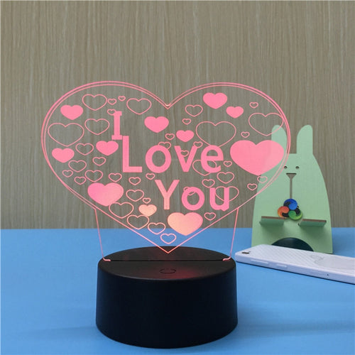 3D Heart Shapes Lamp Multicolor LED Lights Touch With Remote Control - مصابيح إضاءة ثلاثية الأبعاد - Optimum Copy Center