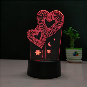 3D Dual Heart Shapes Lamp Multicolor LED Lights Touch USB Remote Control- مصابيح ثلاثية الابعاد - Optimum Copy Center