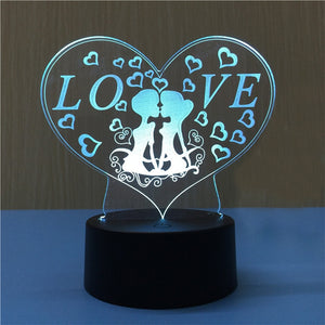 3D Heart Shape Lamp Multicolor LED Lights Touch USB Remote Control - مصابيح اضاءة ثلاثية الأبعاد - Optimum Copy Center