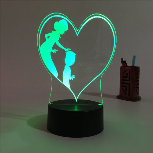 3D Heart Shape Lamp Multi-color LED Lights Touch With Remote Control - مصابيح إضاءة ثلاثية الأبعاد - Optimum Copy Center