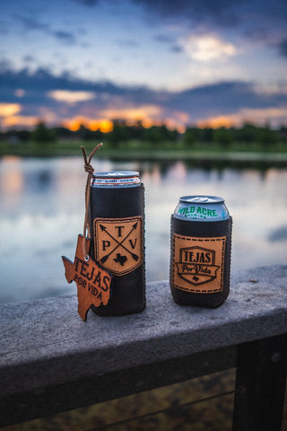 Tejas Leather Patch Koozie