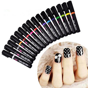 1PC Beauty 16 Colors Two-way Acrylic Paint Pen DIY Gel Polish Drawing Tools Nails Accessoires Manicure 3D Nail Art Pen
