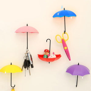 3pcs/lot Umbrella Shaped Creative Key Hanger Rack Decorative Holder Wall Hook For Kitchen Organizer Bathroom Accessories