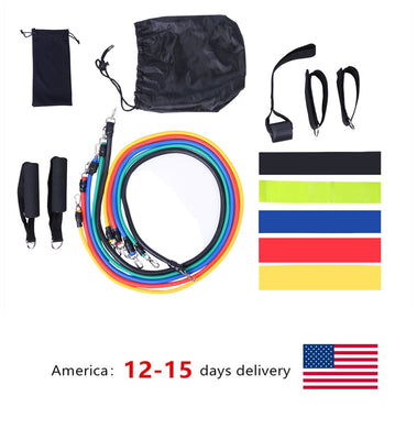 17Pcs/Set Latex Resistance Bands Gym Door Anchor Ankle Straps With Bag Kit Set Yoga Exercise Fitness Band Rubber Loop Tube Bands - Bannaga ⭐ Express™