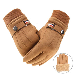 Men's Winter Gloves Suede Warm Split Finger Gloves Outdoor Sport Driving Buckle Design Male Touch Screen Mittens