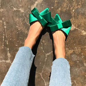 2018 spring and summer women's shoes Korean silk satin Pointed bow tie slippers Baotou flat heel sets semi slippers - Bannaga ⭐ Express™