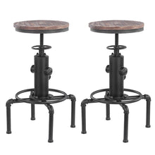Metal Industrial Bar Stool Morden Height Adjustable Swivel Pinewood Top Kitchen Dining Chair for Home Pipe Style Barstool - Bannaga ⭐ Express™