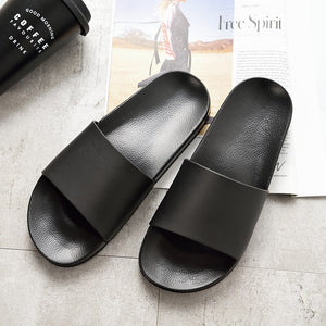 Summer Home Men Slippers Simple Black White Shoes Non-slip Bathroom Slides Flip Flops Couples Indoor Women Platform Slippers - Bannaga ⭐ Express™