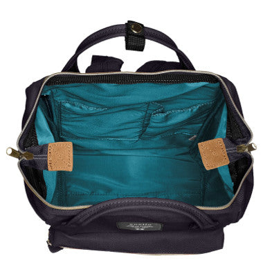 8f9e0d229cf ... ANELLO Polyester canvas mini backpack with metal clasp-AT B 0197B Navy  ...