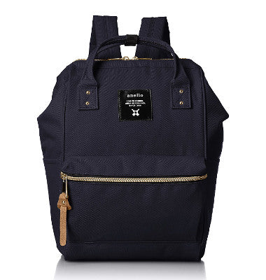 ANELLO Polyester canvas  mini  backpack with metal clasp-AT B 0197B Navy