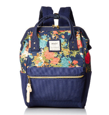 ANELLO Official Mini Canvas Backpack with Metal Clasp AT-B0487 - Flower Navy