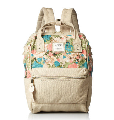 ANELLO Official Mini Canvas Backpack with Metal Clasp AT-B0487 - Flower Natural