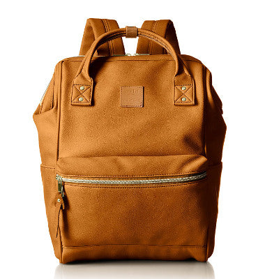 Anello Official Synthetic Leather metal clasp backpack AT B1211 -Camel Beige